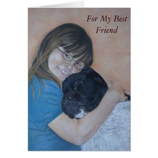 Cute black and white akita cuddling best friend greeting cards