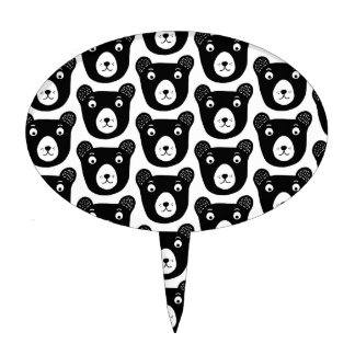 Cute black and white bear illustration pattern cake topper