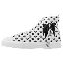 Cute Black and White Boston Terrier Dog Cartoon High-Top Sneakers