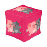 Cute Black And White Cartoon Pig Cubed Pouf Cube Pouf
