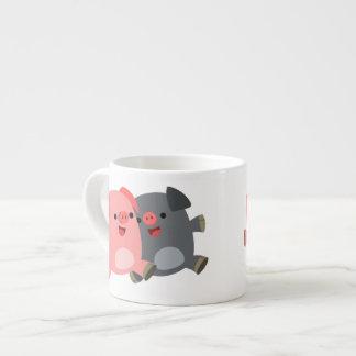 Cute Black and White Cartoon Pigs Espresso Mug