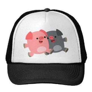 Cute Black and White Cartoon Pigs Hat