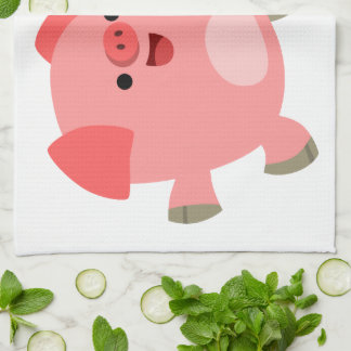 Cute Black And White Cartoon Pigs Kitchen Towel