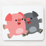 Cute Black and White Cartoon Pigs Mousepad