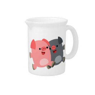 Cute Black and White Cartoon Pigs Pitcher
