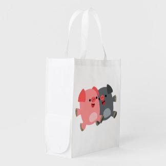 Cute Black and White Cartoon Pigs Reusable Bag Market Totes