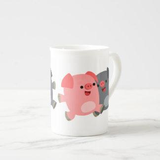 Cute Black And White Cartoon Pigs Tea Cup