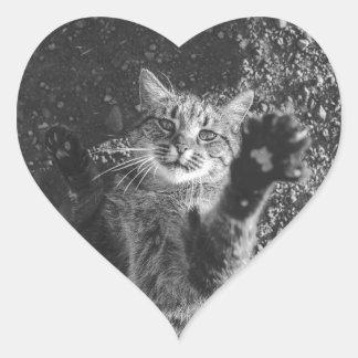 Cute Black and White Cat Hug Heart Sticker