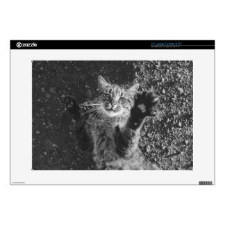 "Cute Black and White Cat Hug Skin For 15"" Laptop"