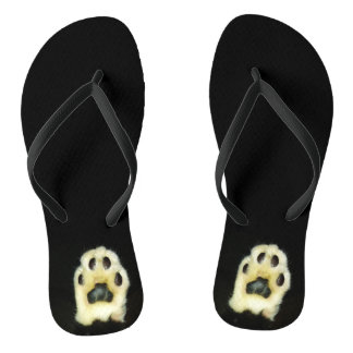 Cute Black and White Cat Paws Flip Flops