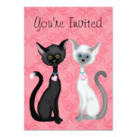 Cute Black and White Cats on Pink Girls Birthday 5x7 Paper Invitation Card