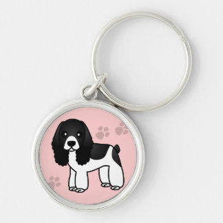 Cute Black and White Cocker Spaniel Cartoon Silver-Colored Round Keychain