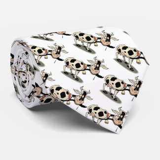 Cute black and white cow neck tie