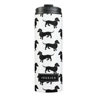 Cute Black and White Dachshund Pattern Thermal Tumbler