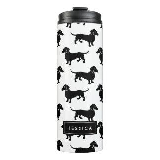 Cute Black and White Dachshund Pattern Thermal Tumbler