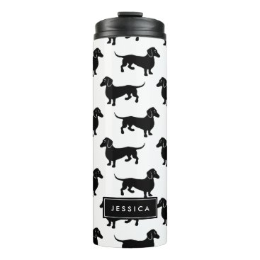 antiqueimages Cute Black and White Dachshund Pattern Thermal Tumbler