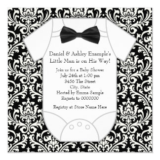 """Cute Black and White Damask Baby Shower 5.25"""" Square Invitation Card"""