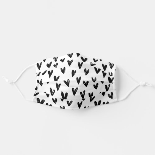 Cute Black And White Doodle Hearts Adult Cloth Face Mask