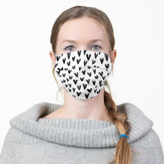 Cute Black And White Doodle Hearts Cloth Face Mask