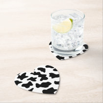 cute  black and white farm dairy cow print paper coaster