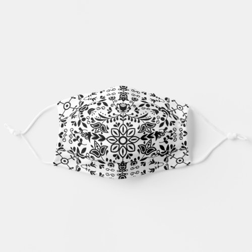 Cute Black And White Floral Scandinavian Bandanna Cloth Face Mask