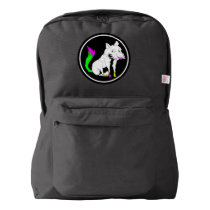 Cute Black and White Fox With a Colorful Tail Backpack