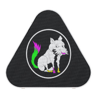 Cute Black and White Fox With a Colorful Tail Bluetooth Speaker