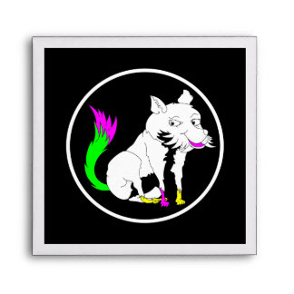 Cute Black and White Fox With a Colorful Tail Envelope