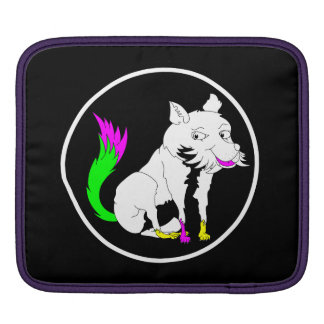 Cute Black and White Fox With a Colorful Tail iPad Sleeve