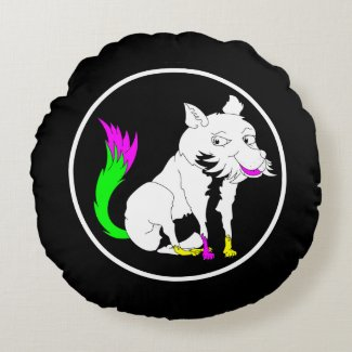 Cute Black and White Fox With a Colorful Tail Round Pillow