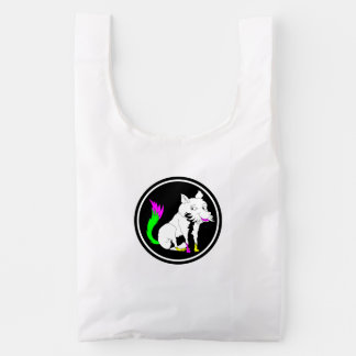 Cute Black and White Fox With a Colorful Tail Reusable Bag