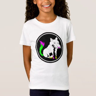 Cute Black and White Fox With a Colorful Tail T-Shirt