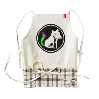 Cute Black and White Fox With a Colorful Tail Zazzle HEART Apron