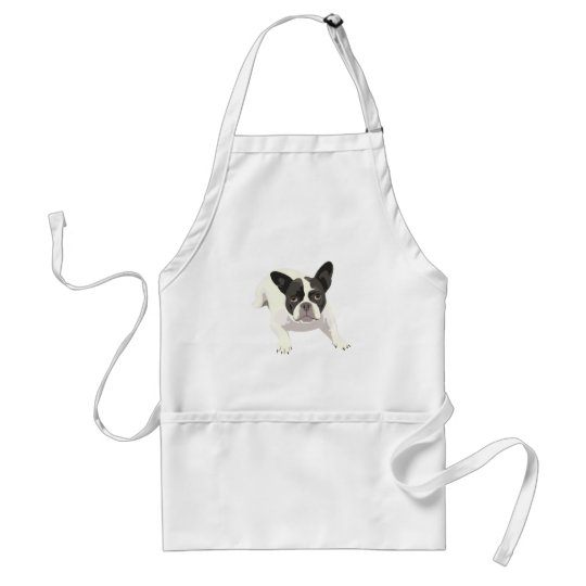Cute Black and White French Bulldog on Blue Back Adult Apron
