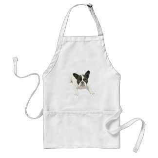Cute Black and White French Bulldog on Blue Back Aprons