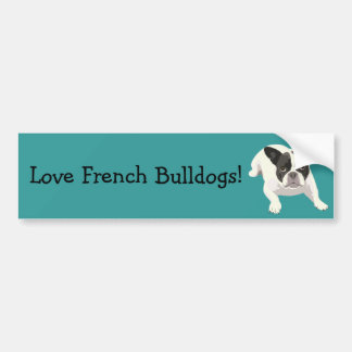 Cute Black and White French Bulldog on Blue Back Bumper Sticker