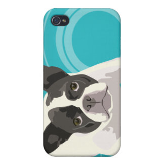 Cute Black and White French Bulldog on Blue Back Cases For iPhone 4