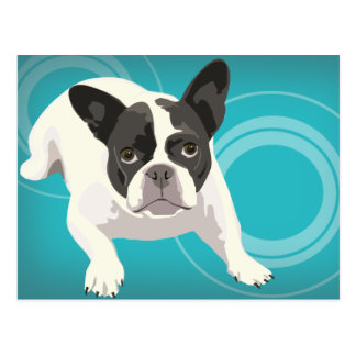 Cute Black and White French Bulldog on Blue Back Postcard