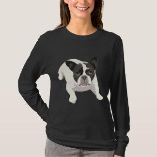 Cute Black and White French Bulldog on Blue Back T-Shirt