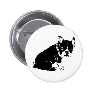 Cute Black and White French Bulldog Puppy Button