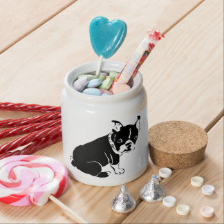 Cute Black and White French Bulldog Puppy Candy Dishes