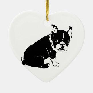 Cute Black and White French Bulldog Puppy Ceramic Ornament