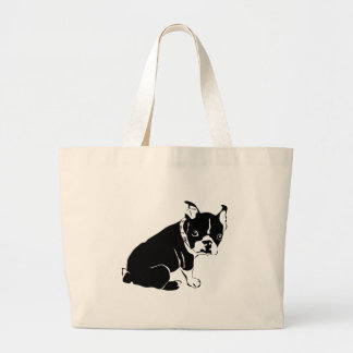 Cute Black and White French Bulldog Puppy Jumbo Tote Bag