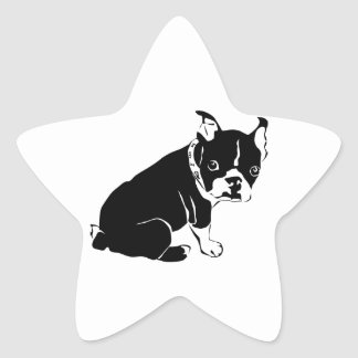 Cute Black and White French Bulldog Puppy Star Sticker