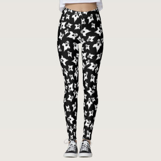 Cute Black And White Ghosts Halloween Leggings