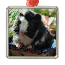 Cute Black and White Guinea Pig Metal Ornament