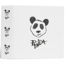 Cute Black and White Hand Drawn Panda Typography Binder