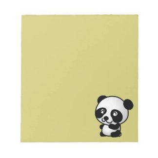 Cute black and white happy panda bear notepad