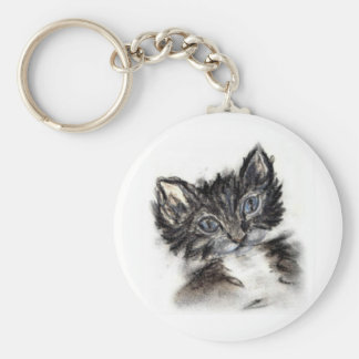 Cute Black and White Kitten Keychain