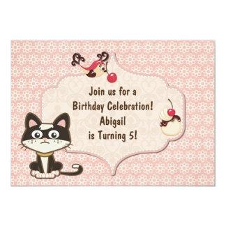 "Cute Black and White Kitty Cat Birthday Invitation 5"" X 7"" Invitation Card"